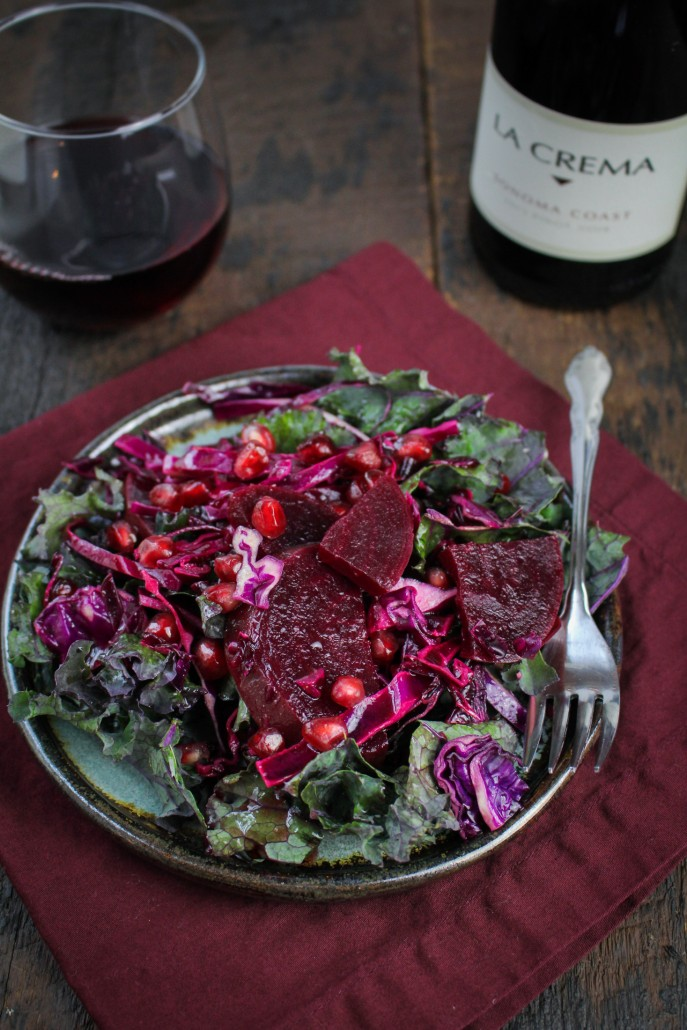 All-Red Winter Detox Salad - Cabbage, Kale, Beets, and Pomegranate