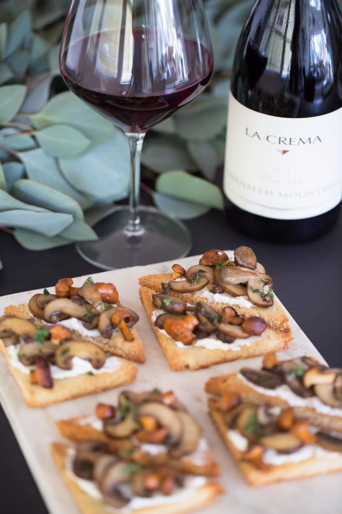 mushroom toasts - holiday dinner menu