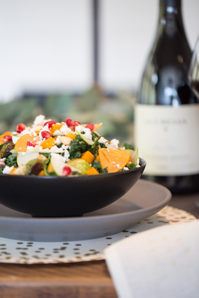 roasted root vegetable and kale salad - holiday dinner menu