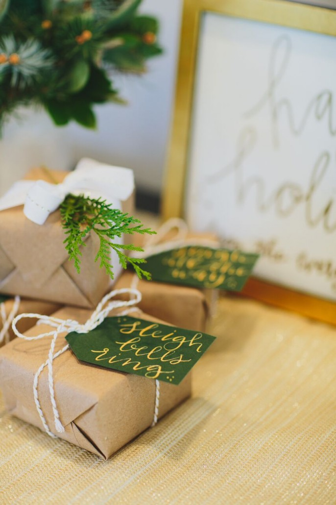 Gifts wrapped with craft paper, twine and handmade tags