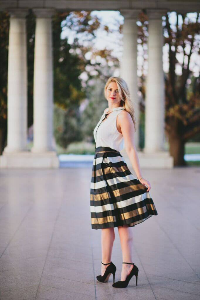 party attire - festive skirt and a simple blouse
