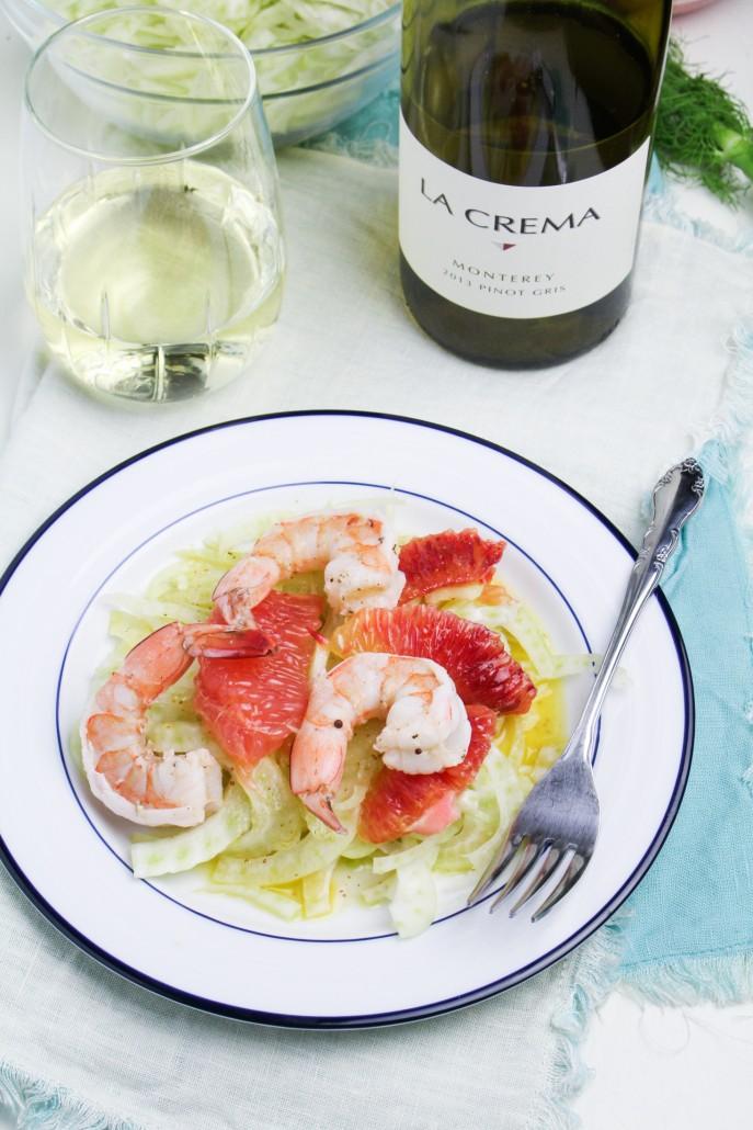 White Wine Poached Shrimp, Citrus, and Fennel Salad
