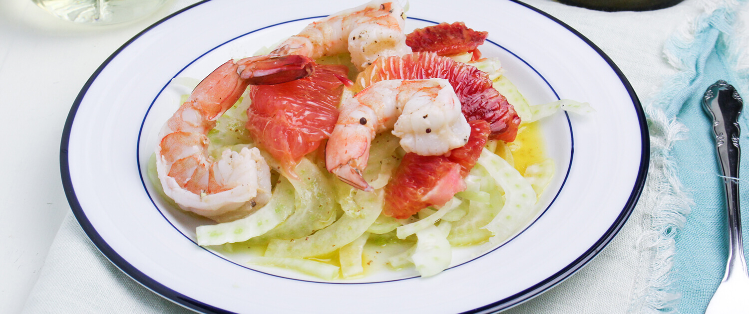 White Wine Poached Shrimp, Citrus, and Fennel Salad - La Crema