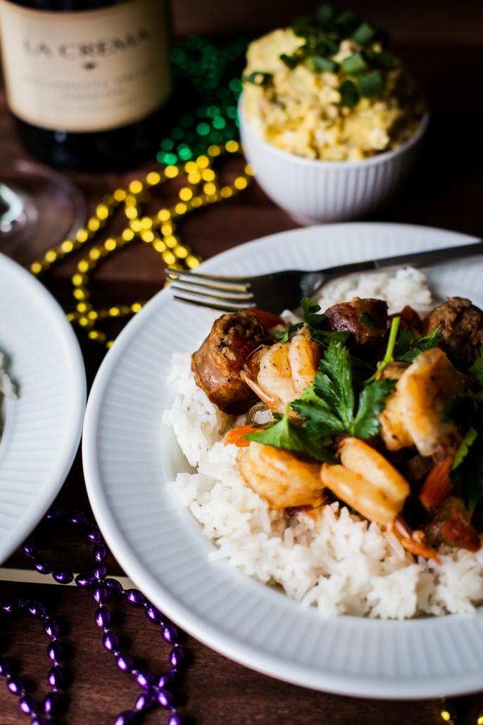 Mardi Gras Shrimp and Sausage Gumbo   La Crema