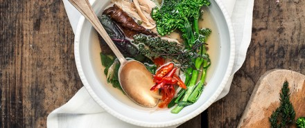 Spicy Lemongrass Chicken Stock and Winter Veggies