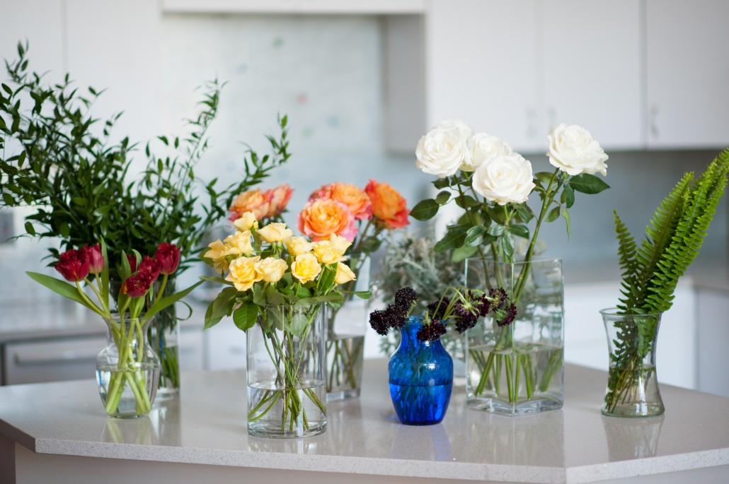 Flowers and greenery to design flower arrangements