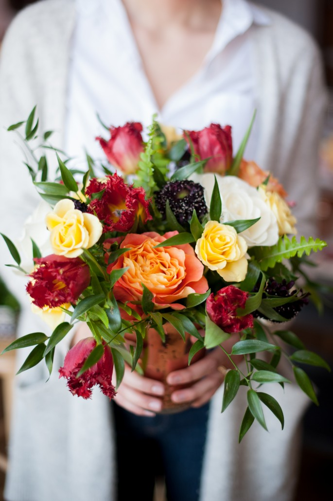 Bouquet of flowers from a flower arranging class