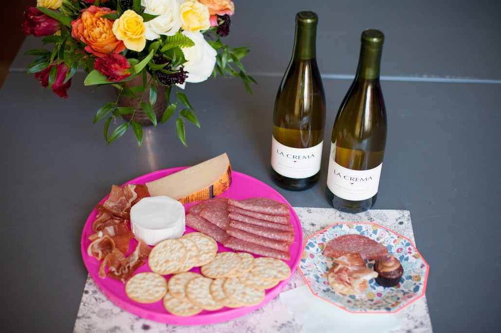 Classic snacks to pair with La Crema wines at a flower arranging party