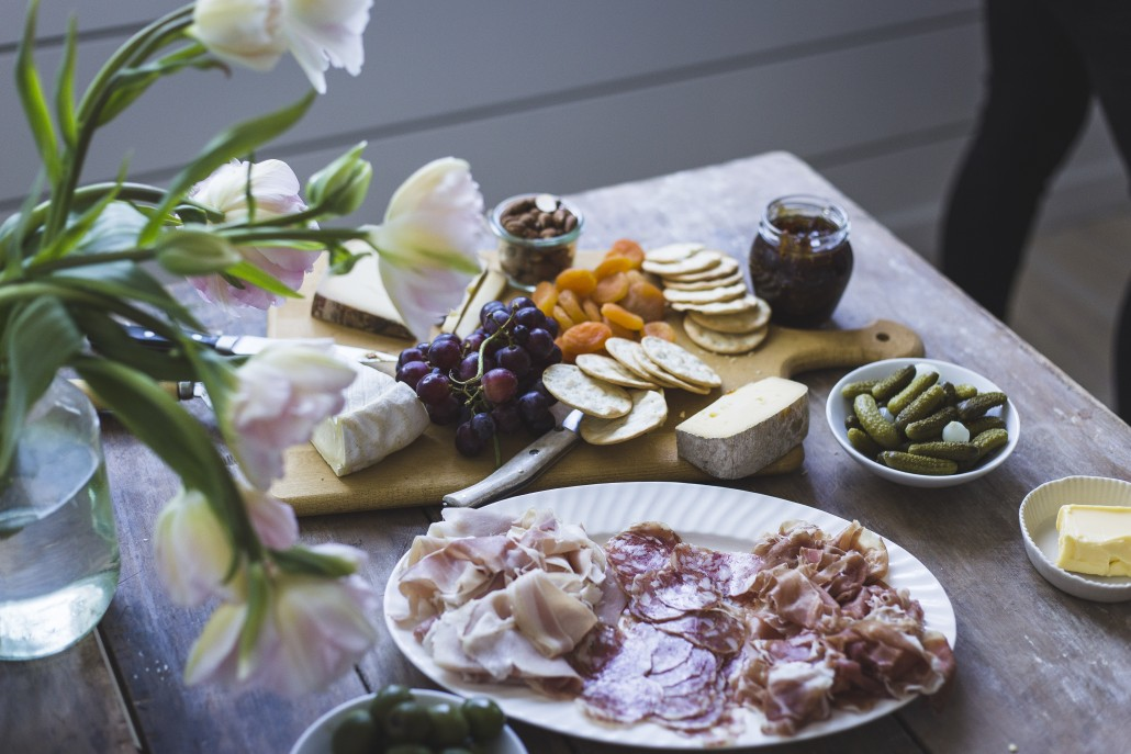 Charcuterie, cheese and accoutrements as appetizers for a late lunch