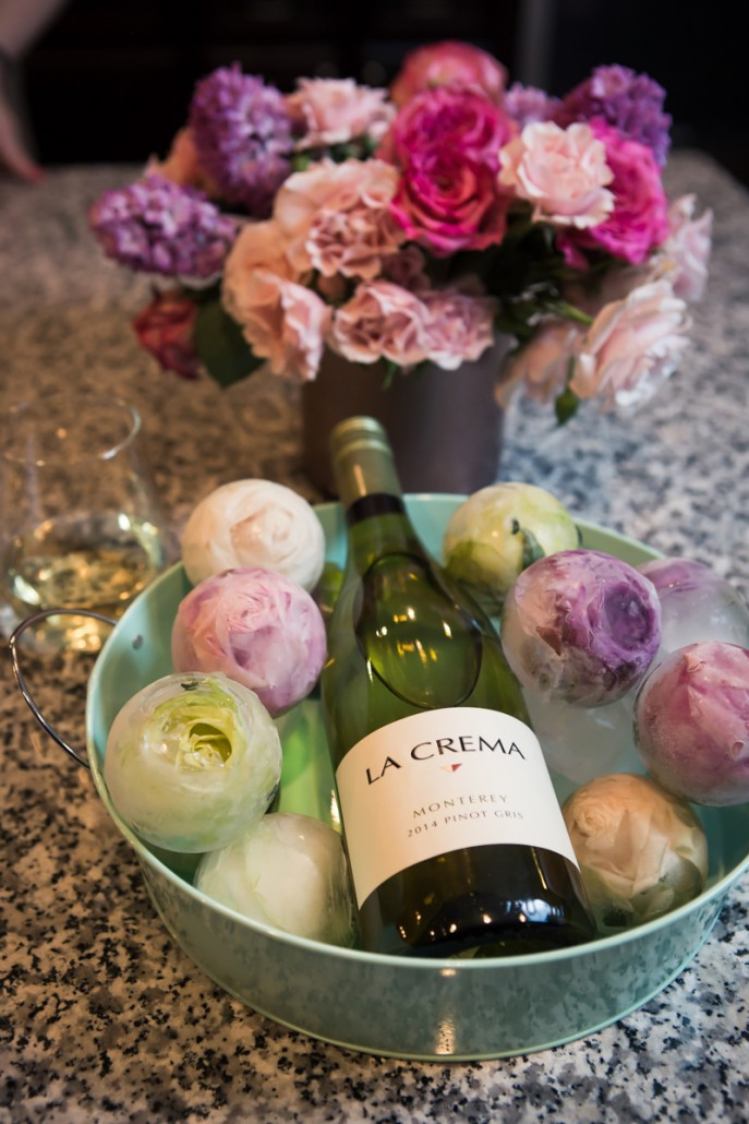 A bucket of floral ice with Monterey Pinot Gris