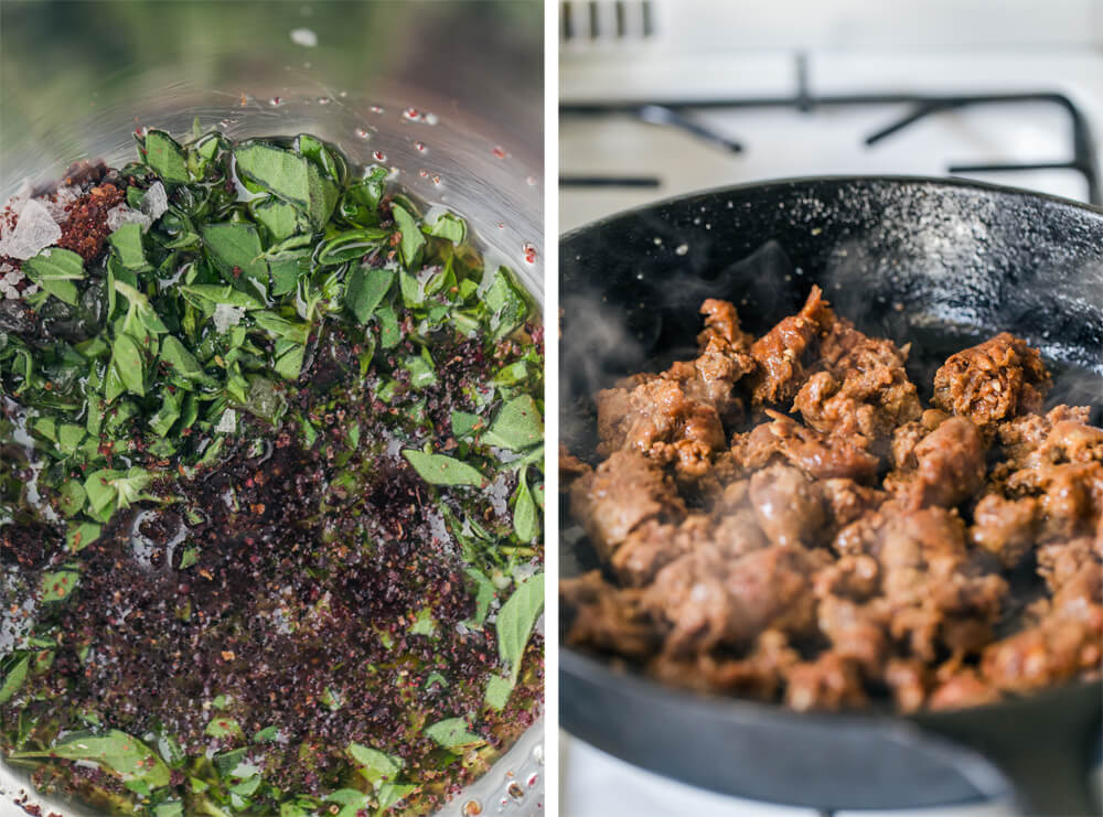 Chorizo & Crumbled Halloumi Salad with Sumac Oregano Dressing