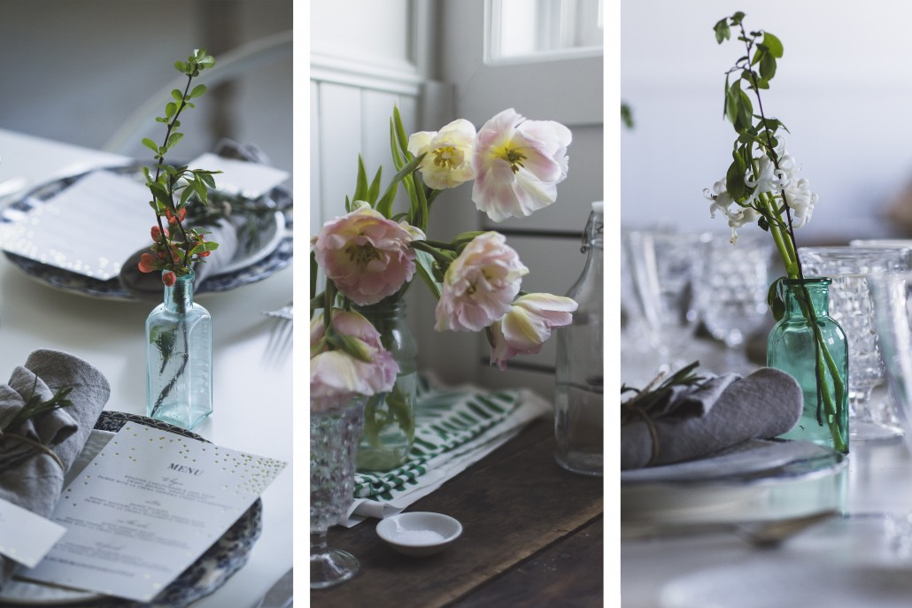 Fresh blooms grace the tablescape for our late lunch