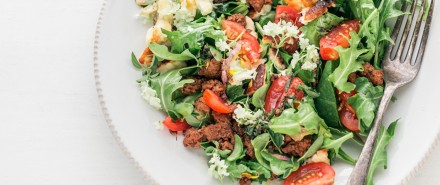 Crumbled Halloumi Salad with Chorizo & Sumac Oregano Dressing