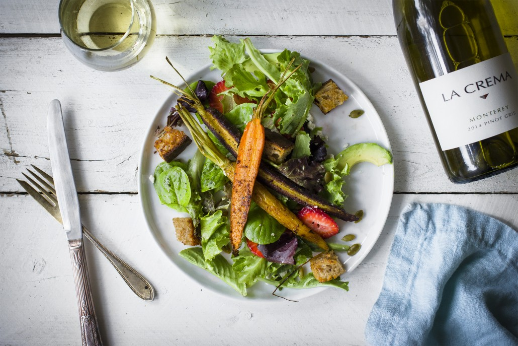 Spiced Carrot Salad with Charred Orange Vinaigrette paired with La Crema Monterey Pinot Gris