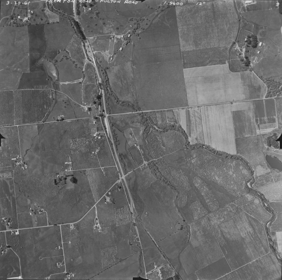 Aeriel view of Saralee's Vineyard in 1961 and the surrounding area.