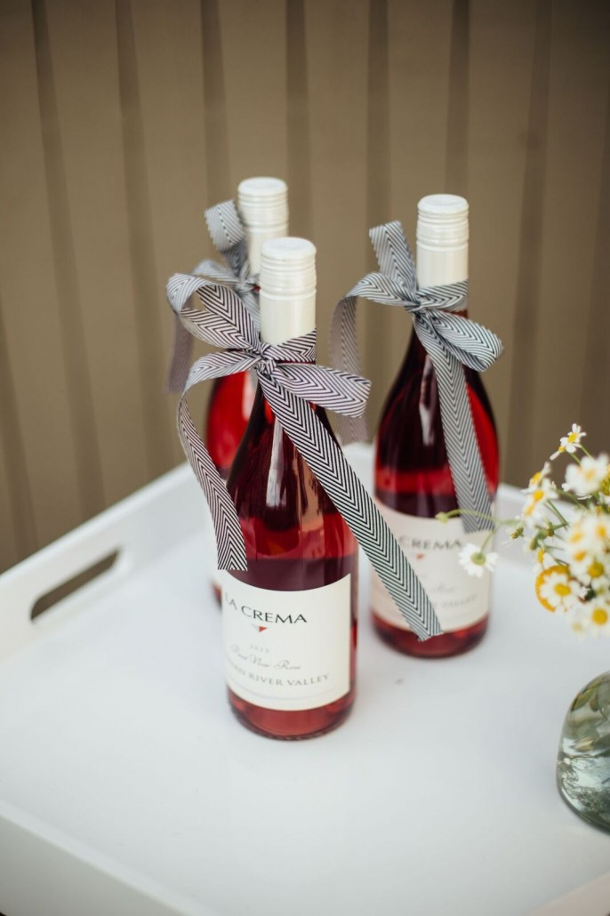 Ribbon-tied rosé for a bridal shower