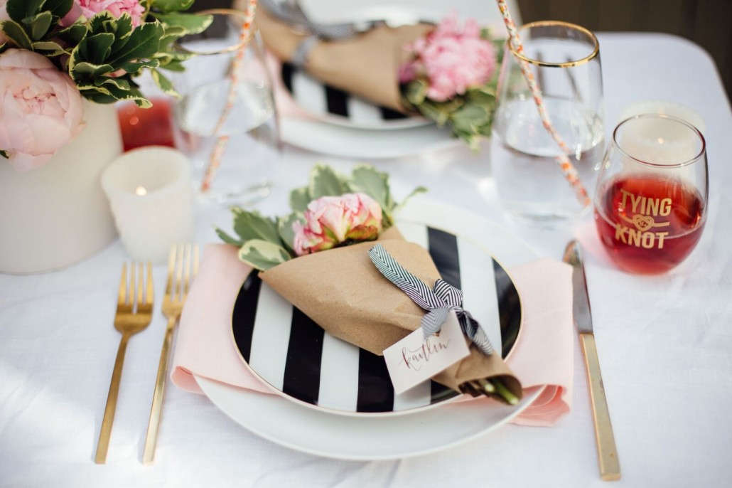 Place setting for your DIY bridal shower