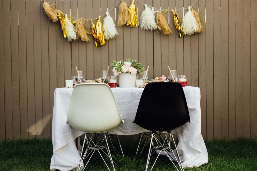 Alternate the color of your chairs to match with your theme to make your bridal shower a bit different and festive