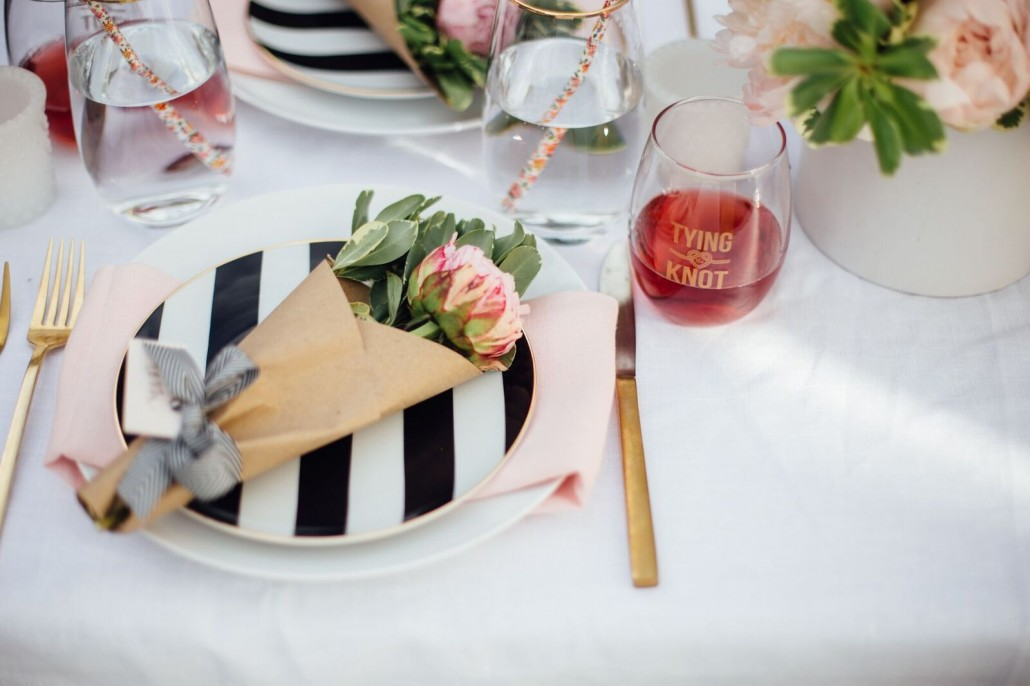 Wrapped peony place settings / name cards for a bridal shower