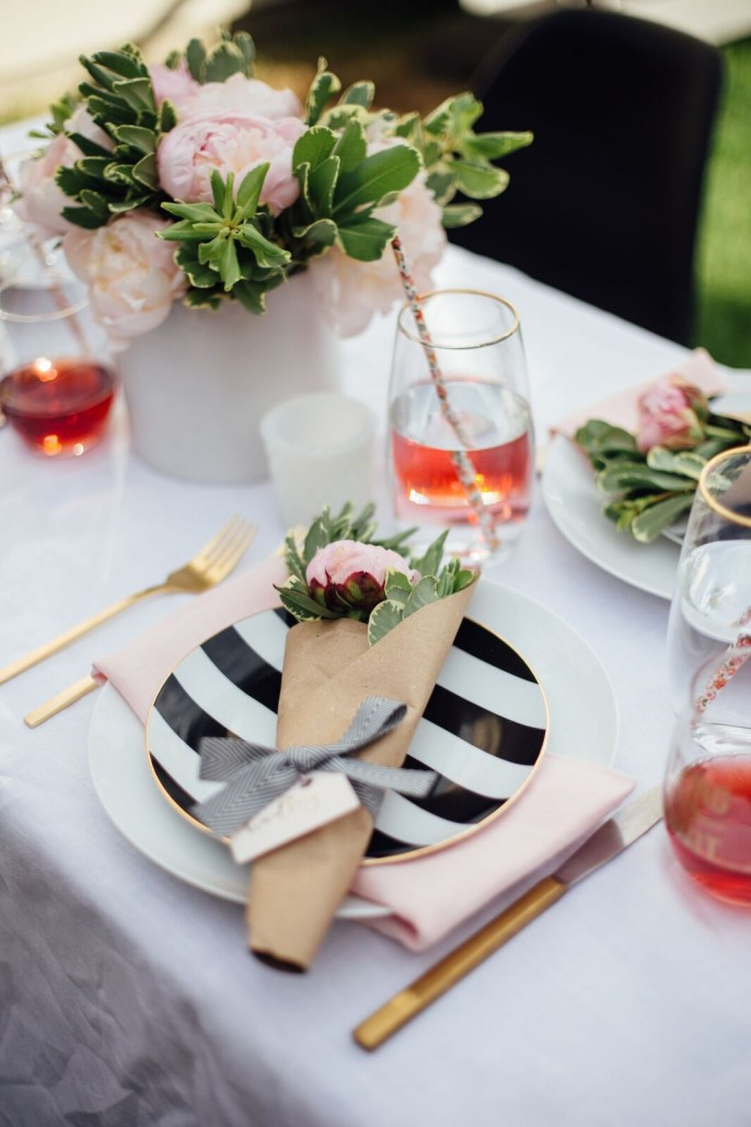 Table decor for a DIY bridal shower