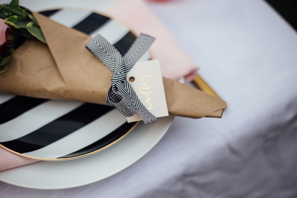 Place settings for a DIY bridal shower