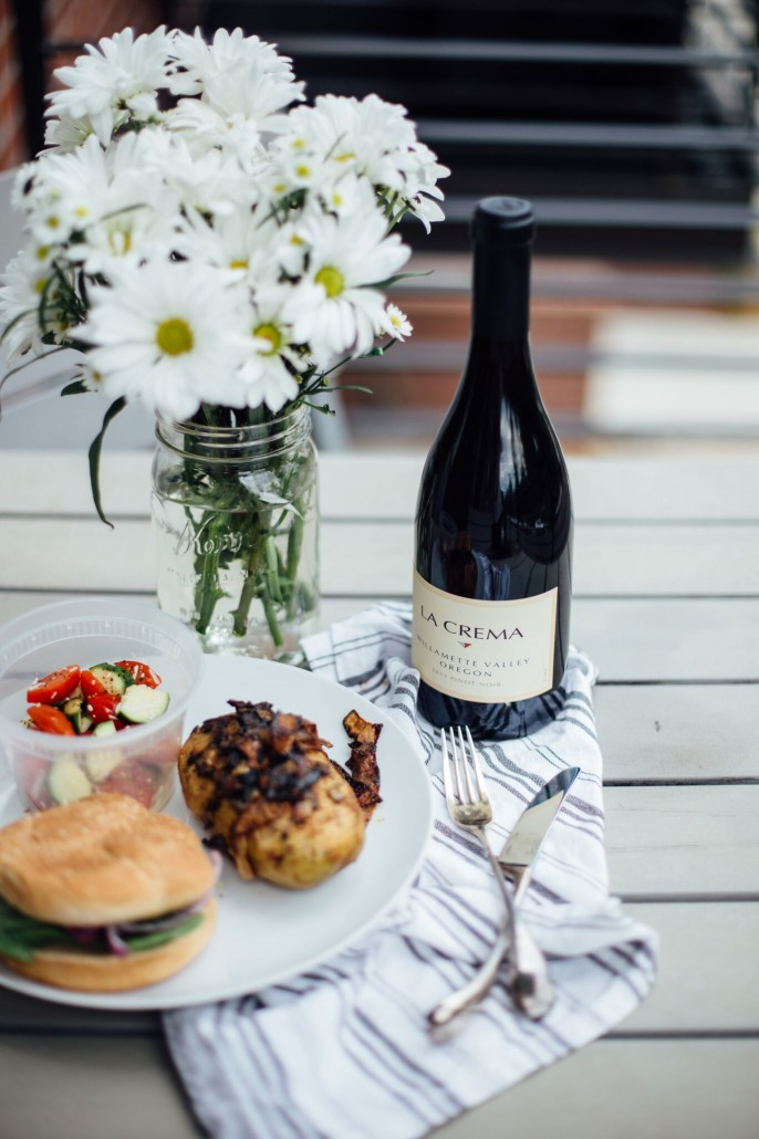 Glamping meals (with wine!)