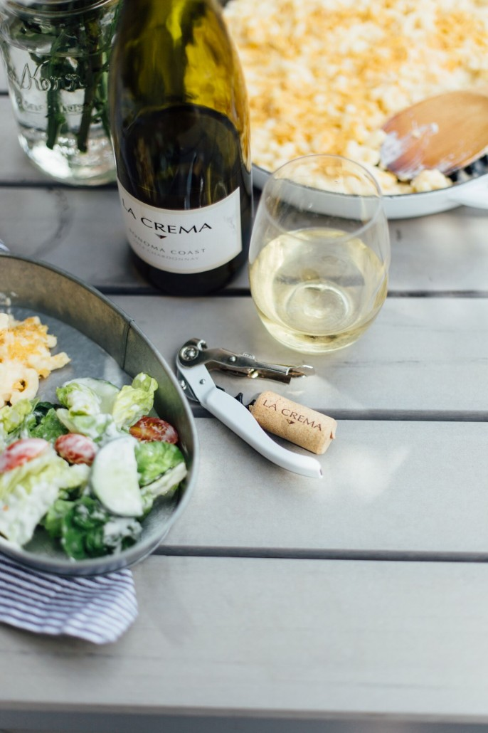 Glamping meals with wine