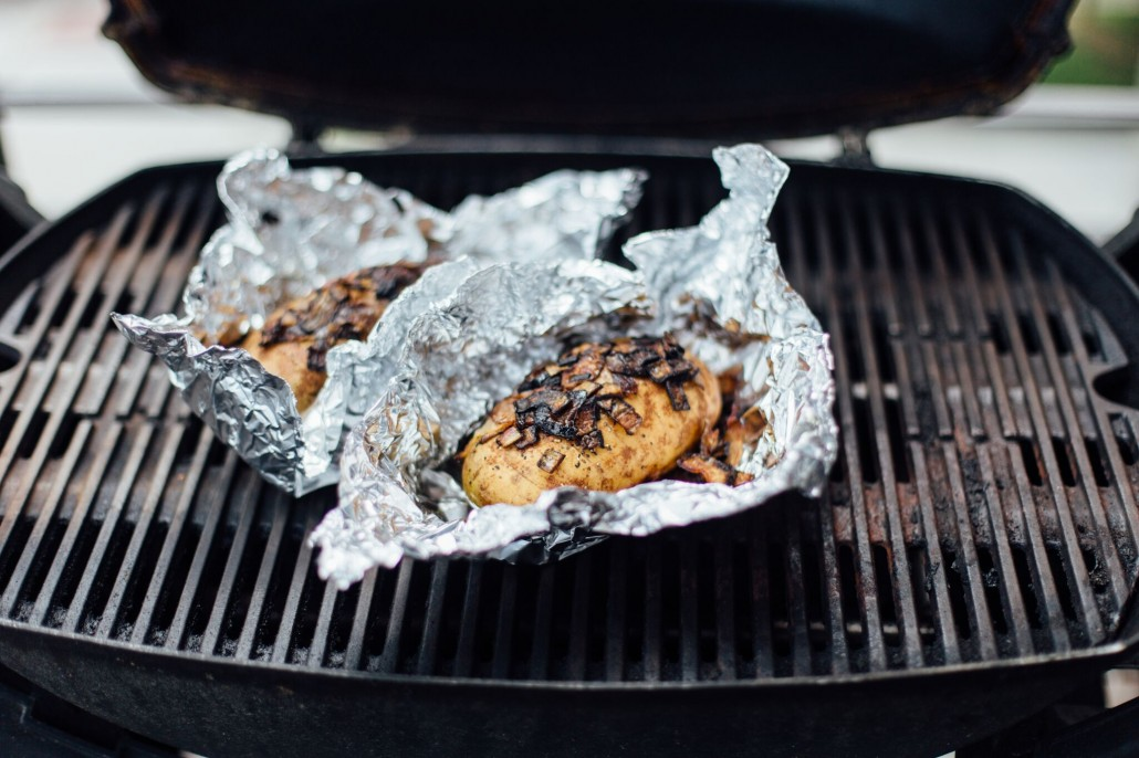 Glamping: Carmelized onion baked potato on the grill