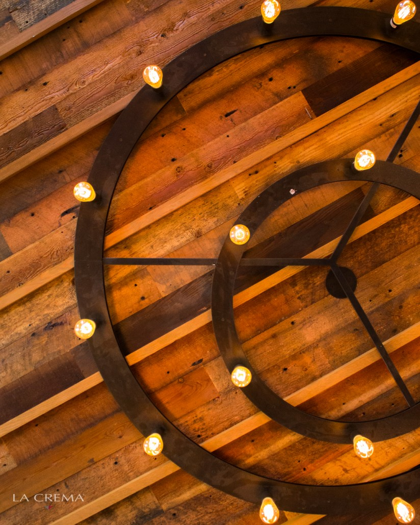 Stunning chandelier on the reclaimed wood ceiling at the La Crema Estate at Saralee's Vineyard