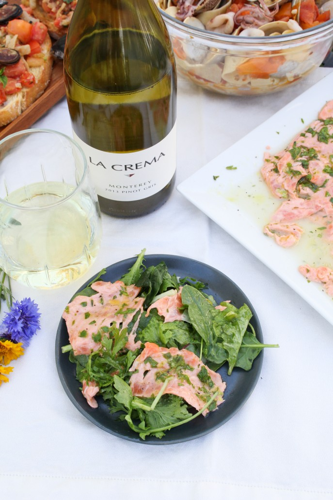 Salmon Carpaccio with Spicy Greens