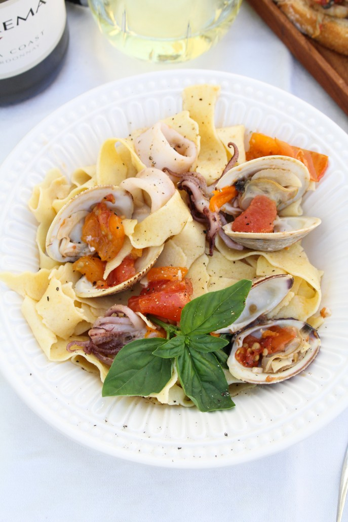 Seafood Pasta with Squid, Clams, and Tomatoes