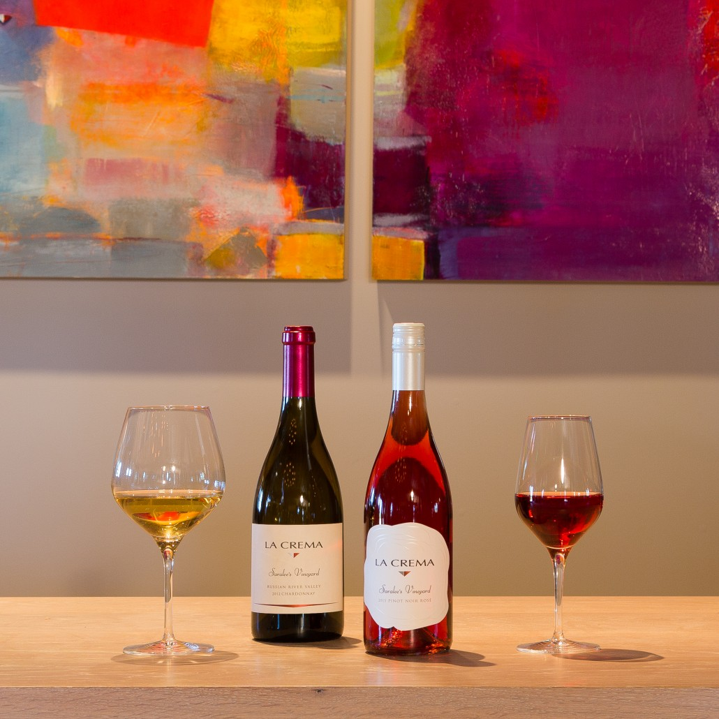 Two of the four wines made from the vineyards at the La Crema Estate at Saralee's Vineyard -- a Chardonnay and Rosé of Pinot Noir