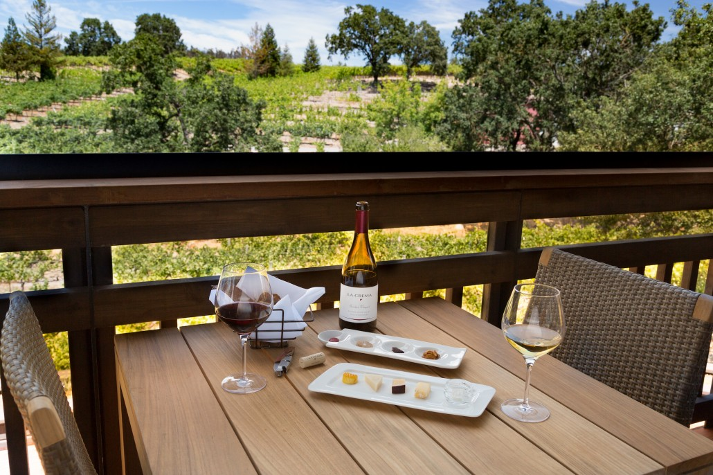 Wine and cheese pairing on the patio at the La Crema Estate at Saralee's Vineyard