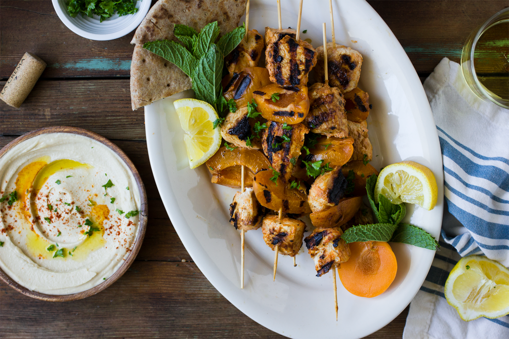 Yogurt Marinated Apricot Chicken Skewers with Tabbouleh and paired with Monterey Chardonnay