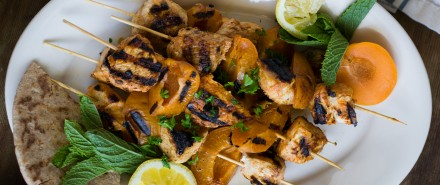 Yogurt Marinated Apricot Chicken Skewers