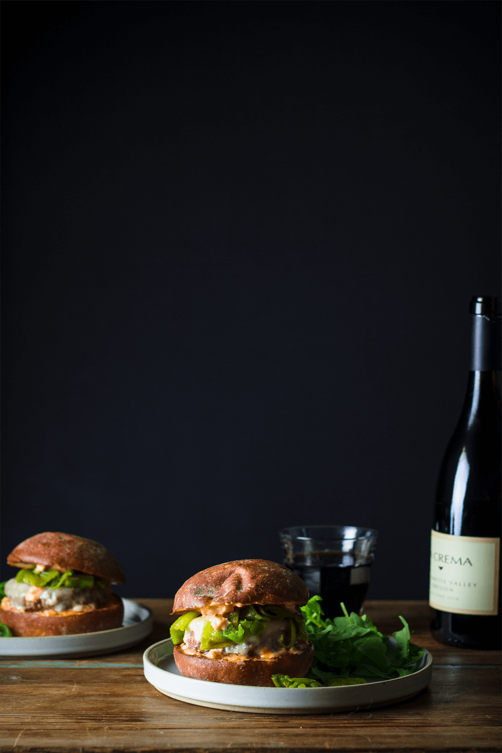 Roasted Hatch Chile Burger paired with La Crema Willamette Valley Pinot Noir