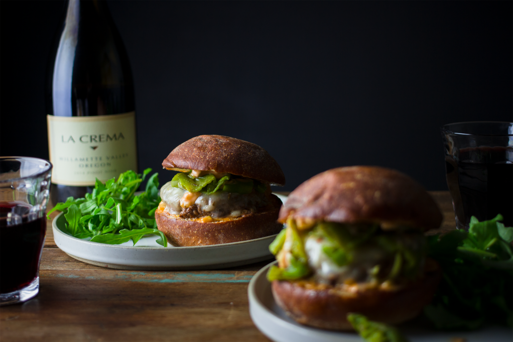 Roasted Hatch Chili Burger paired with La Crema Willamette Valley Pinot Noir