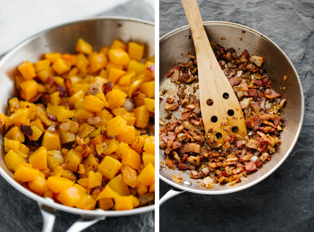 Roasted Squash Conchiglie with Chipotle, Brussels Sprouts and Walnuts