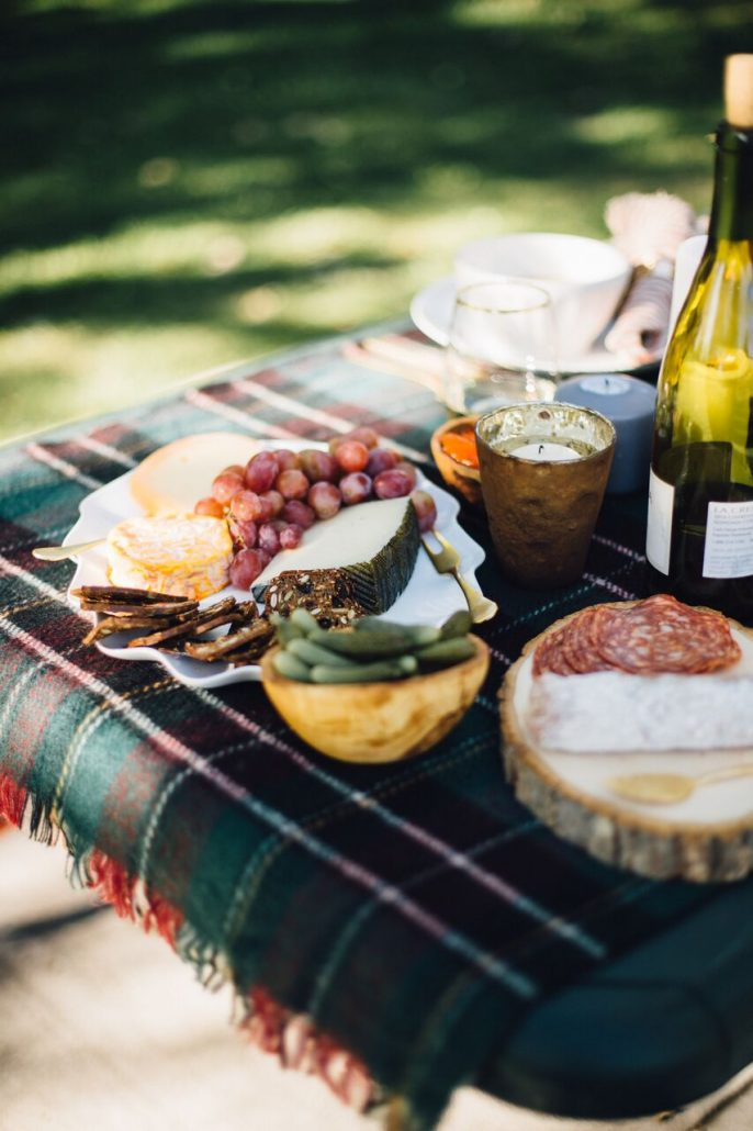 Cheese and accoutrements for a fall al fresco dinner party
