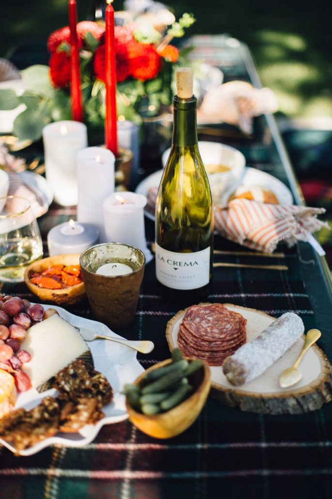 Charcuterie, cheese and accoutrements for a fall al fresco dinner party