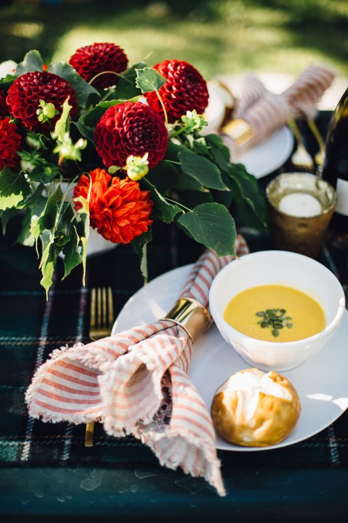 Butternut squash soup for a fall al fresco dinner party