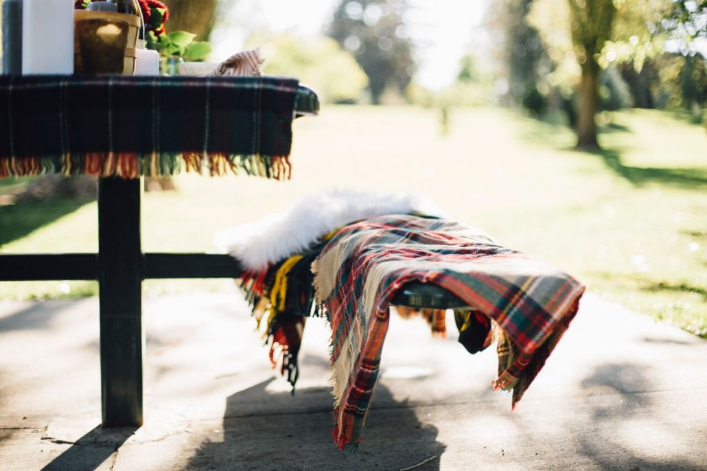 Beautiful plaids for a Fall Al Fresco Dinner Party
