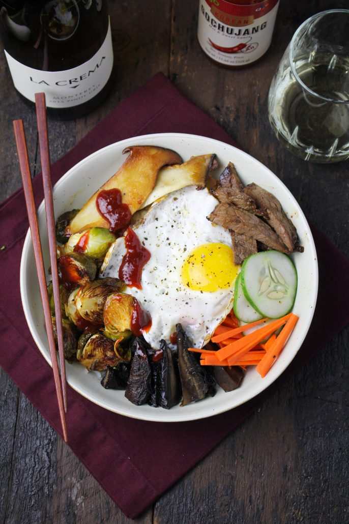 Autumn Bibimbap with Gochujang-Roasted Brussels Sprouts and Tamari-Portobellos