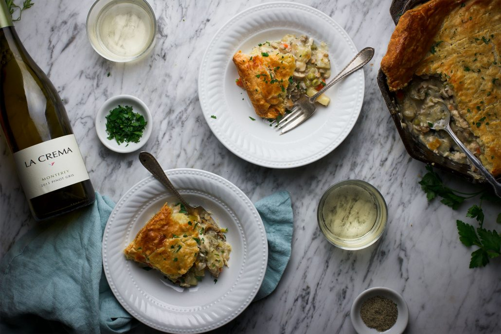 Skillet Chicken Pot Pie with all the fixings