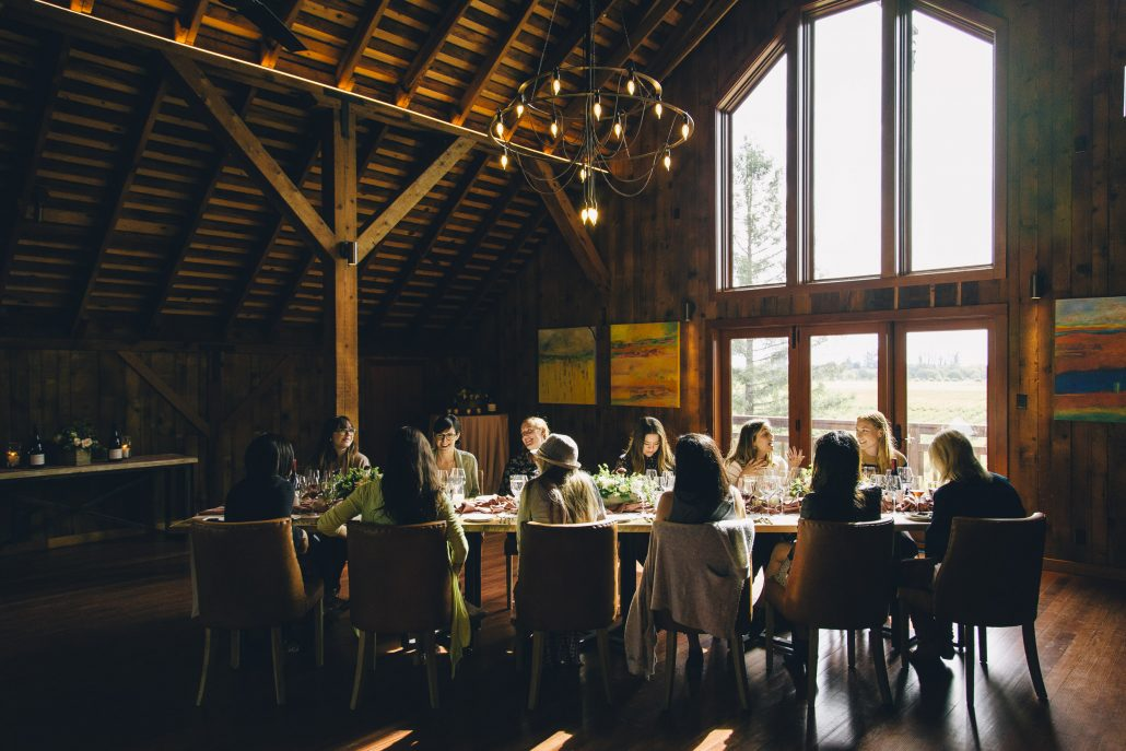 A tablescape with a backdrop of vineyard views at the La Crema Estate at Saralee's Vineyard