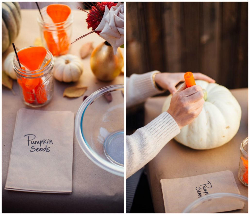 Make sure you have a bowl for the pumpkin guts and a bag for seeds in case you want to save them | Pumpkin Carving Party