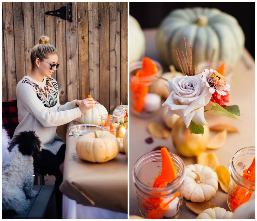 Make it chic! Add some flowers and small pumpkins for a more glamorous table setting | Pumpkin Carving Party