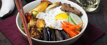 Autumn Bibimbap with Brussels Sprouts and Mushrooms