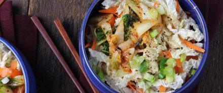 Cabbage and Kimchi Salad with Sesame-Miso Dressing
