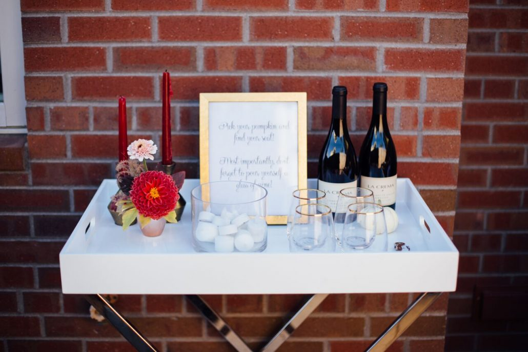 Set the bar! Give guests easy access to wine so they can sip and carve at the same time   Pumpkin Carving Party